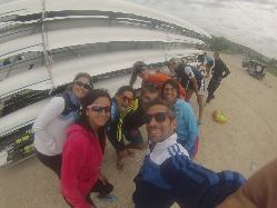 Un momento de humor del equipo argentino durante la regata en Essen.