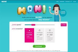 MONI, una plataforma online que ofrece adelantos de dinero.