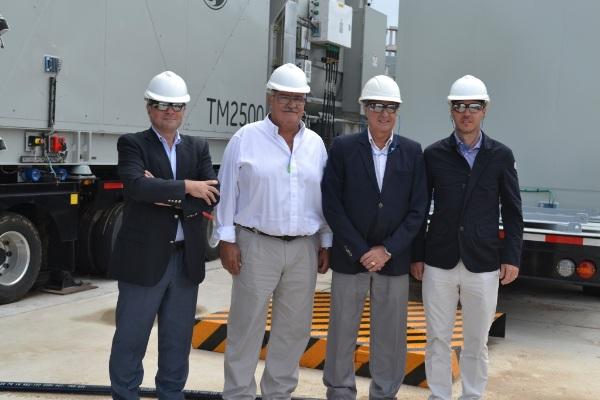 Walter Lanosa, CEO de Genneia; Vicente Gatica, intendente de Bragado; Osvaldo Rolando, subsecretario de Energía Eléctrica